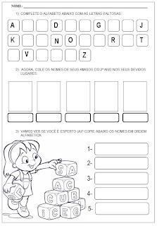 Atividade para alfabetização - Complete o alfabeto e coloque os nomes em ordem alfabética - Atividade com o alfabeto