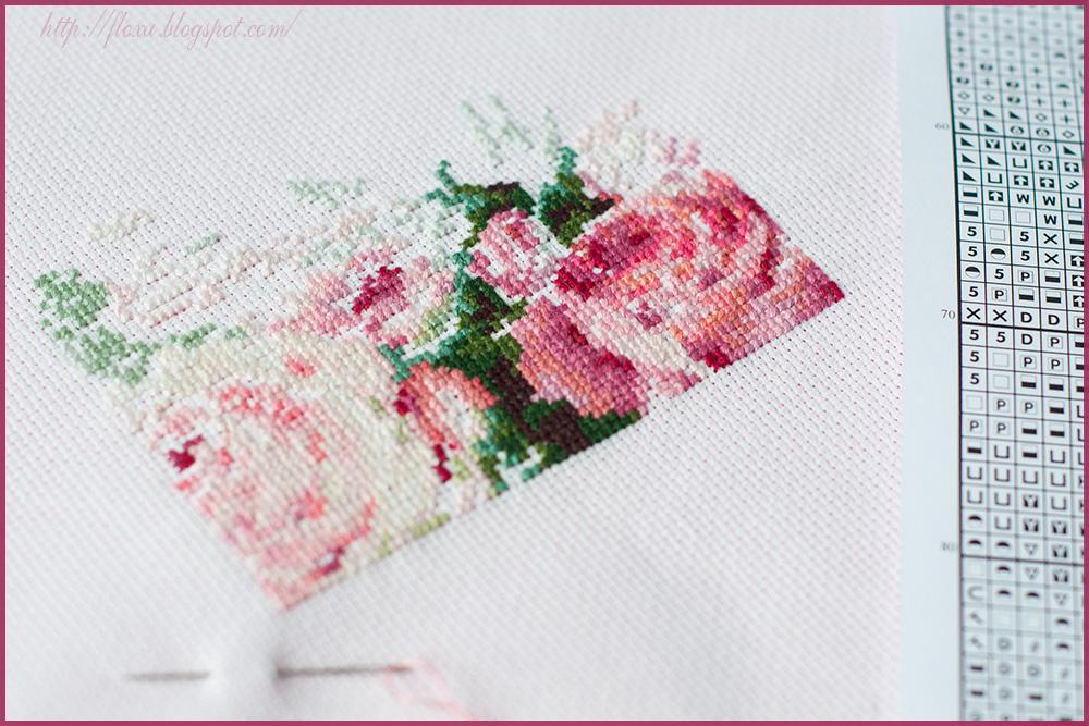 вышивка процесс, вышивка розы