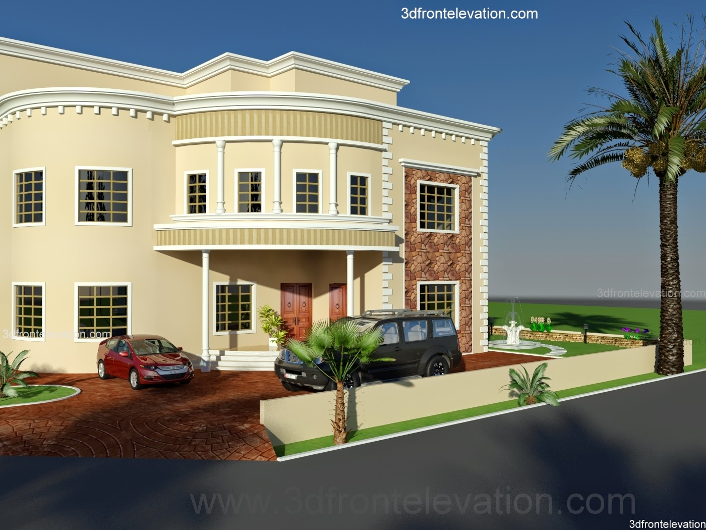 3d front dubai arabian house 3d front for Home plans 3d designs