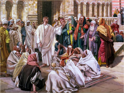 Jesus teaching at the temple - Artist unknown