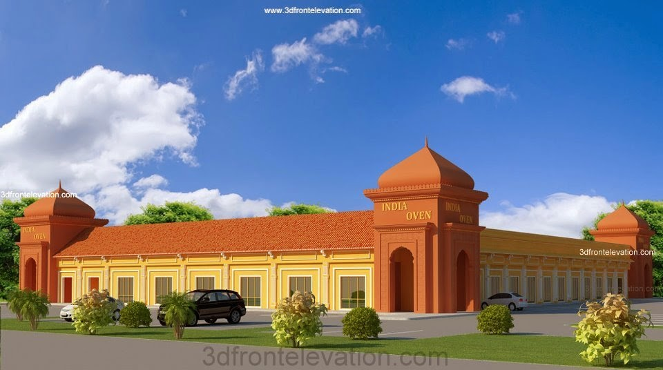 Marriage Hall Front Elevation Designs : D front elevation merriage banquiet flats