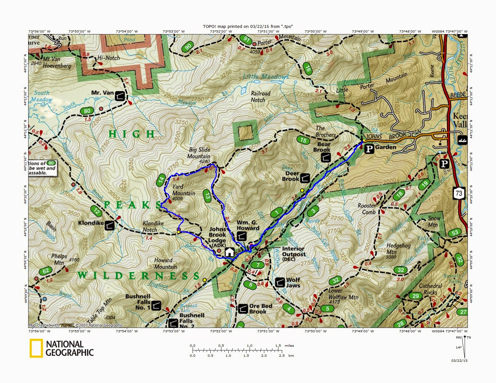 Mt Big Slide NY Adk TrailsNH Hiking Conditions - New york map mountains