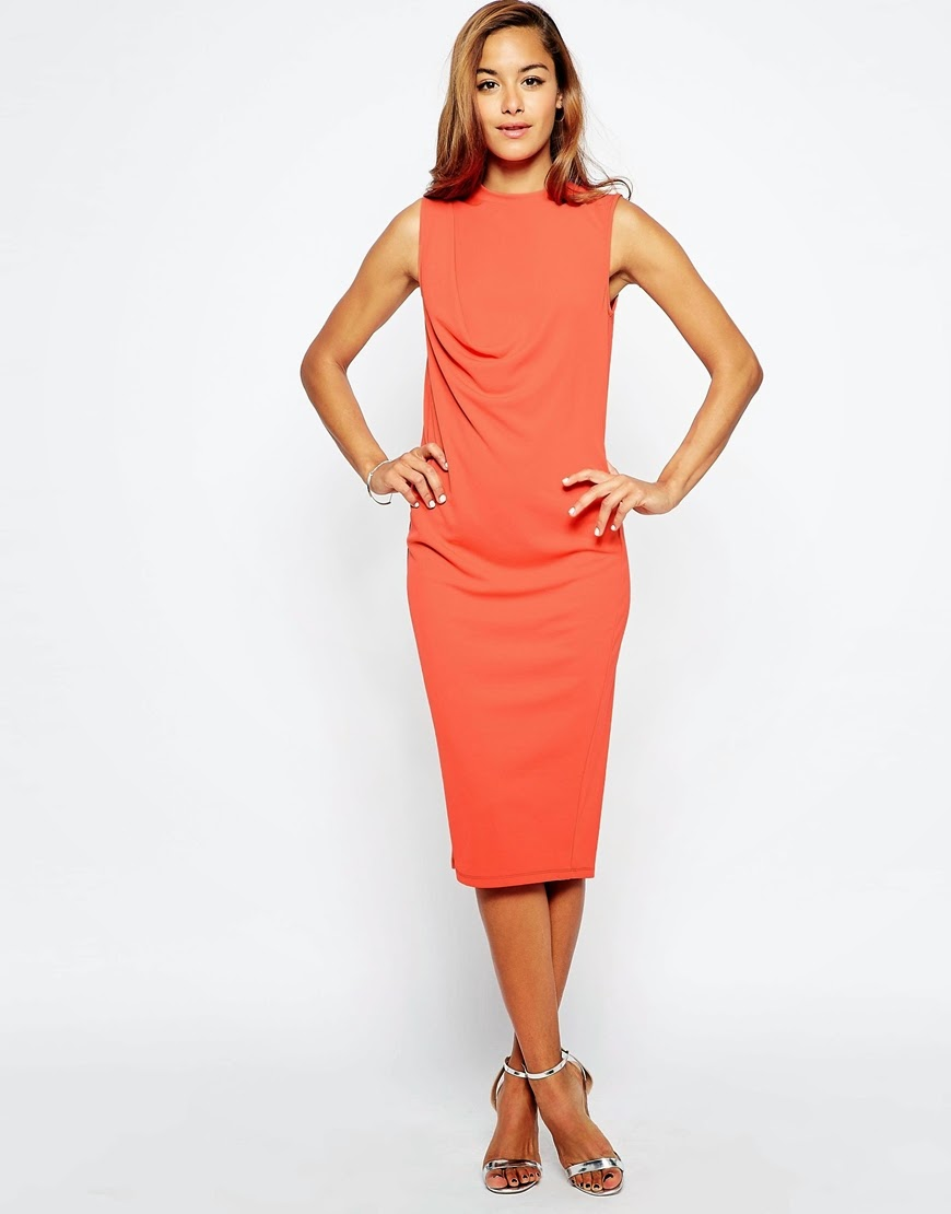 coral stretch midi dress, coral bodycon midi dress, coral midi dress,