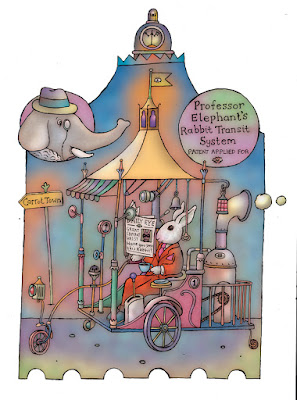 An illustration of Professor Elephant's Rabbit Transit System