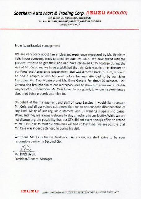 Surat Permohonan Maaf Pihak Dealer