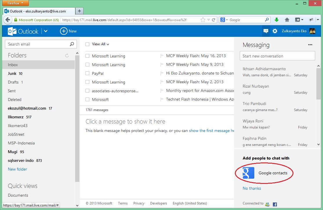 Google Talk Ada di Outlook.com dan SkyDrive.com
