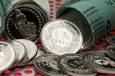 One Swiss Franc coins