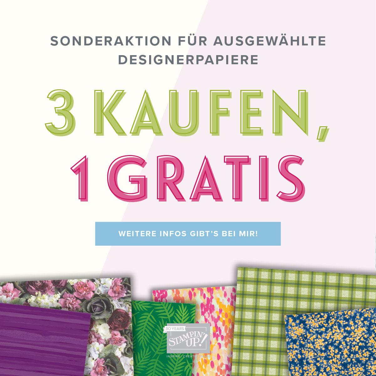 """""""3 kaufen, 1 gratis"""" - die Designerpapier-Aktion von Stampin´Up!"""