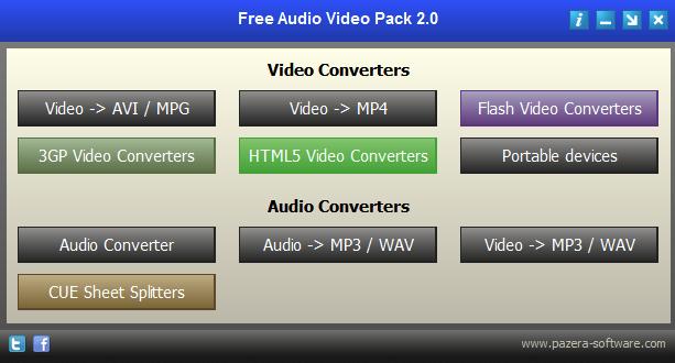 מסך ראשי חבילת המרת וידאו אודיו של Pazera