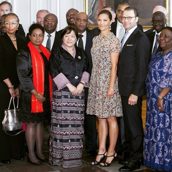 Crown Princess Victoria of Sweden and Prince Daniel of Sweden met with UN Ambassadors from 30 nations during a ceremony at the Royal Palace in Stockholm