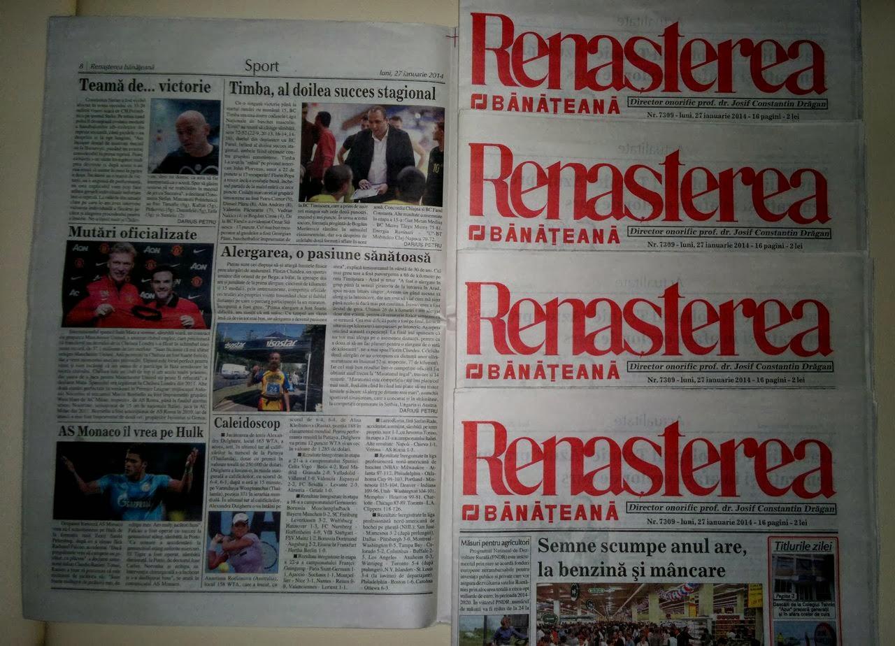 Alergarea, o pasiune sanatoasa. Articol aparut in ziarul Renasterea Banateana din Timisoara, luni 27 ianuarie 2014
