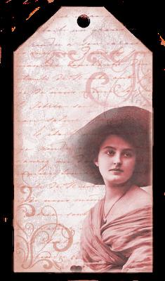 tag vintage dama con sombrero tonos rojos