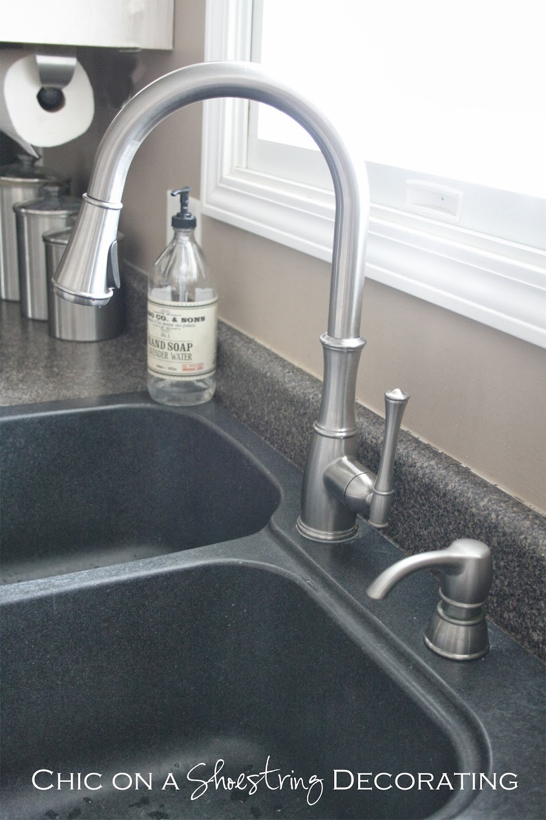 attractive Built In Soap Dispenser For Kitchen Sink #8: $300 Pfister Faucet Giveaway at Chic on a Shoestring Decorating blog! Click  link to enter