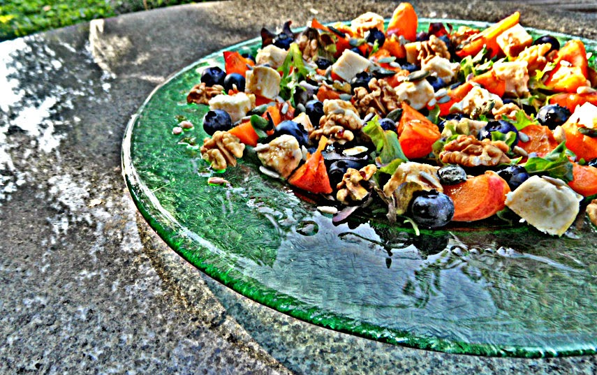 Chez Maximka: Apricot, blueberry and Wensleydale cheese salad for ...