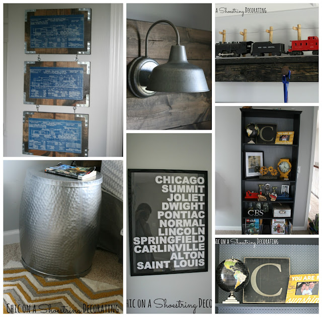 Bigger Boy Room, Yellow & Gray, DIY art by Chic on a Shoestring Decorating