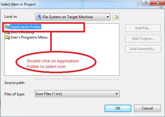 application folder option in vs 2010