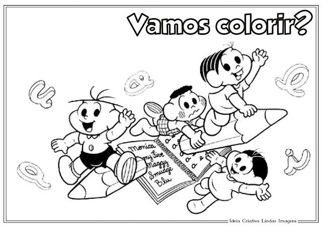 Desenho de Volta às Aulas para colorir - Turma da Mônica
