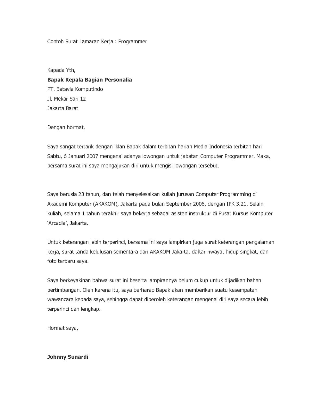 10 Contoh Surat Lamaran Kerja Indonesia - ben jobs