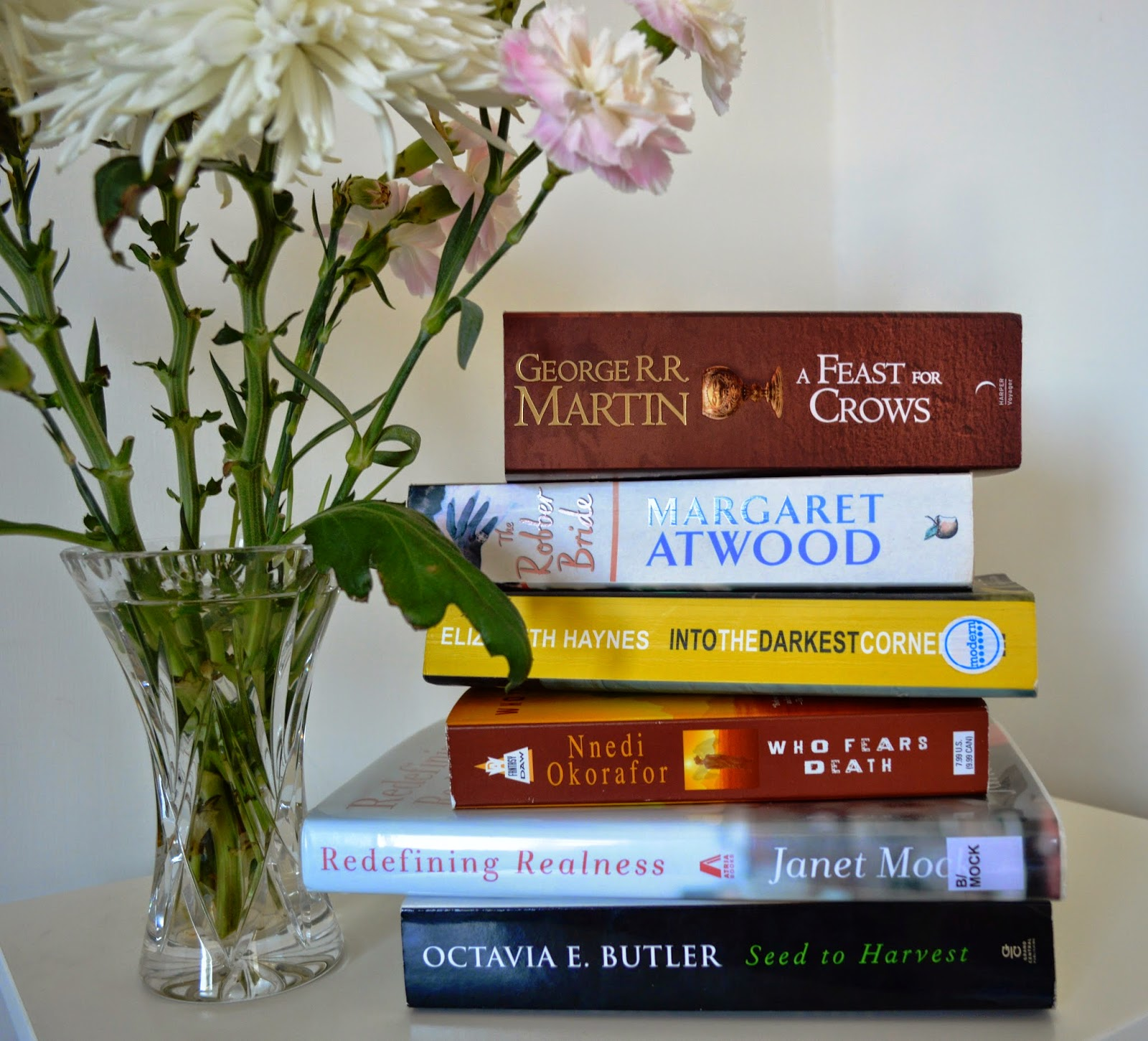 stack of books, reviews, list, photo, pile of books, paperback, spines,