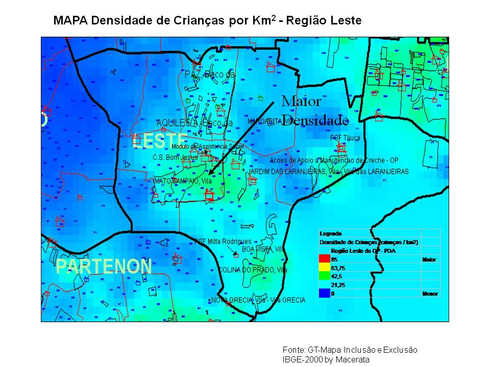 Região Leste maior densidade de crianças em POA