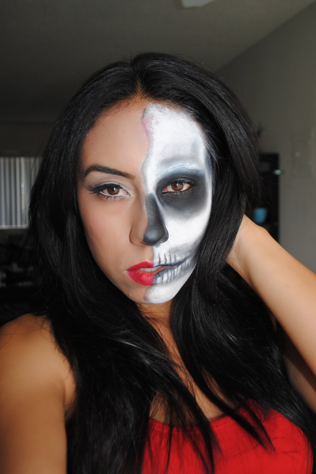 caricollazo half face half skull halloween tutorial. Black Bedroom Furniture Sets. Home Design Ideas
