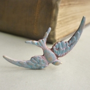 lilac bird brooch