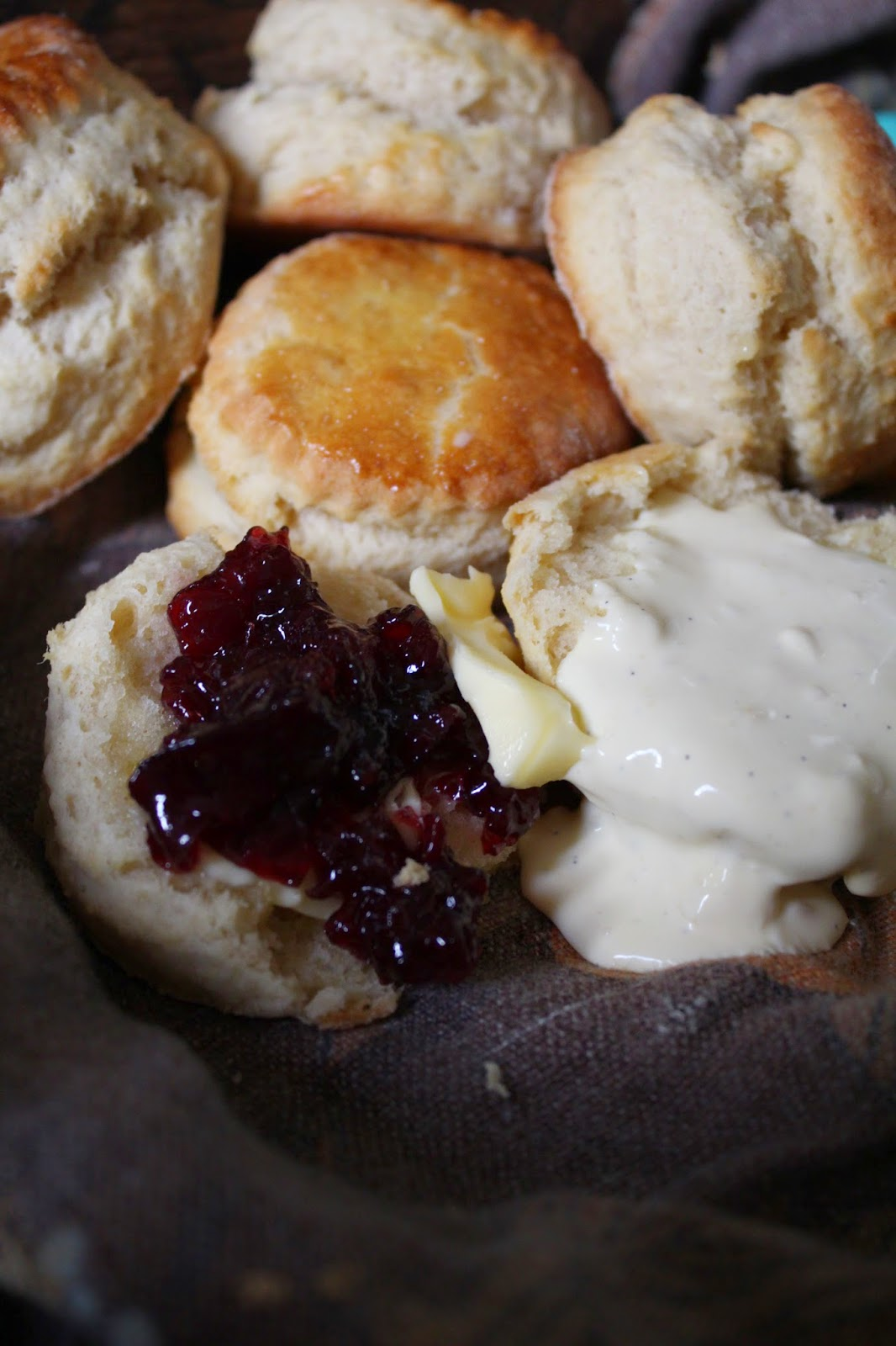 Close-up picture of scones and jam