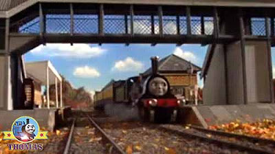 Traveling at speed Emily train engine crossed Island of Sodor in good time as good as Gordon train