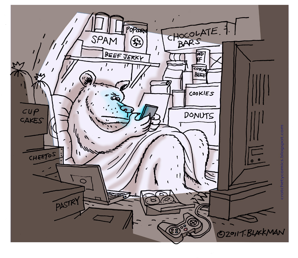 A comic of a bear on a smart phone hibernating with junk food and video games.