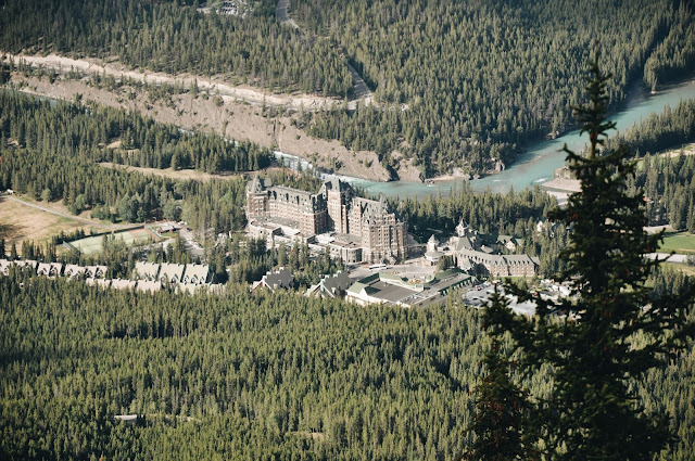 View of The Fairmont Banff Springs from Sulphur Mountain