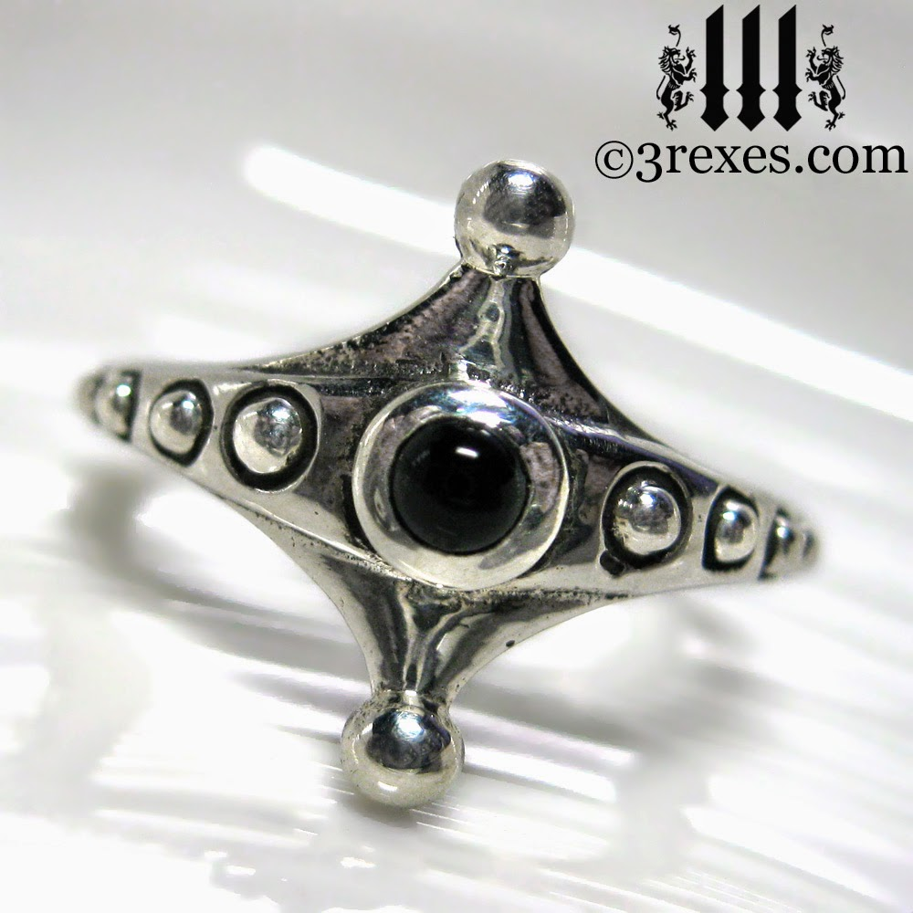 Imp Silver Fairy Ring Gothic Black Onyx Friendship Ring Gothic Ring