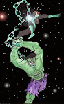 Hulk vs Green Lantern Art