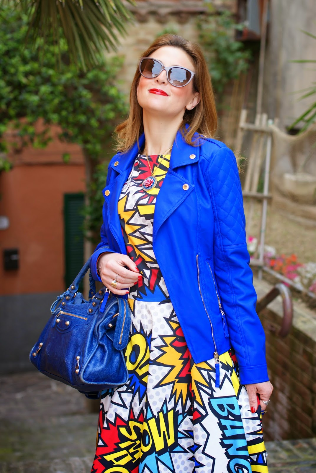 Love Moschino comics dress, faux leather biker jacket, Balenciaga city blue, Fashion and Cookies, fashion blogger