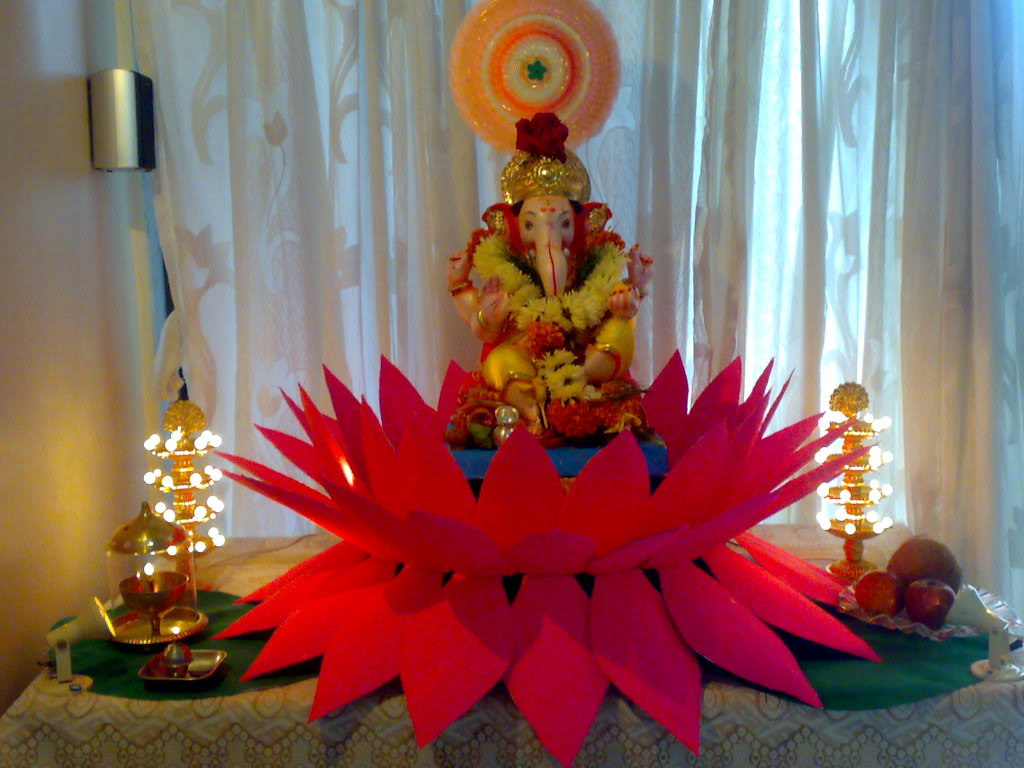 Ganpati decoration at home ideas god wallpapers for Background decoration for ganpati
