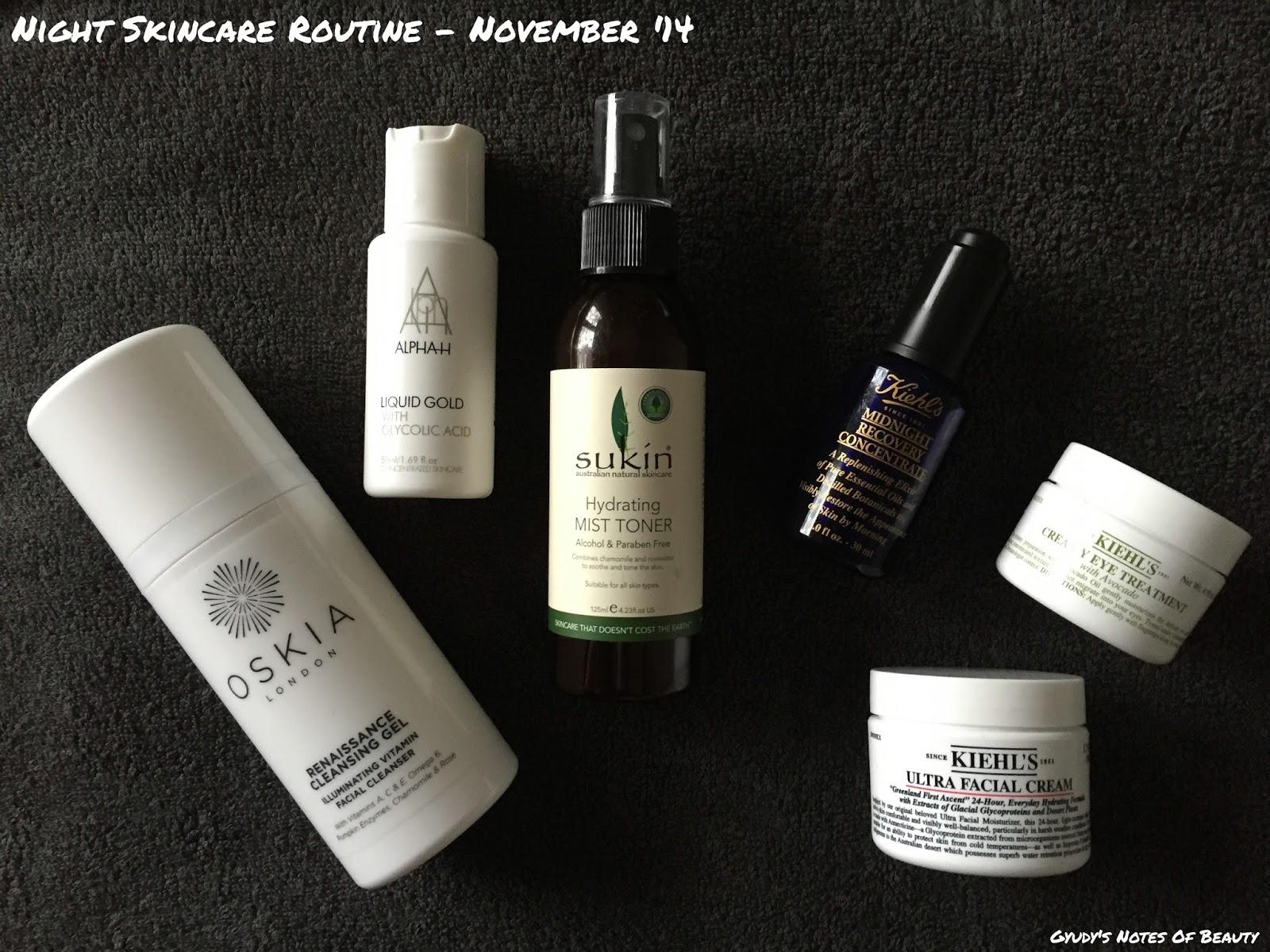 Oskia Alpha H Sukin Kiehl's Night Skincare Routine