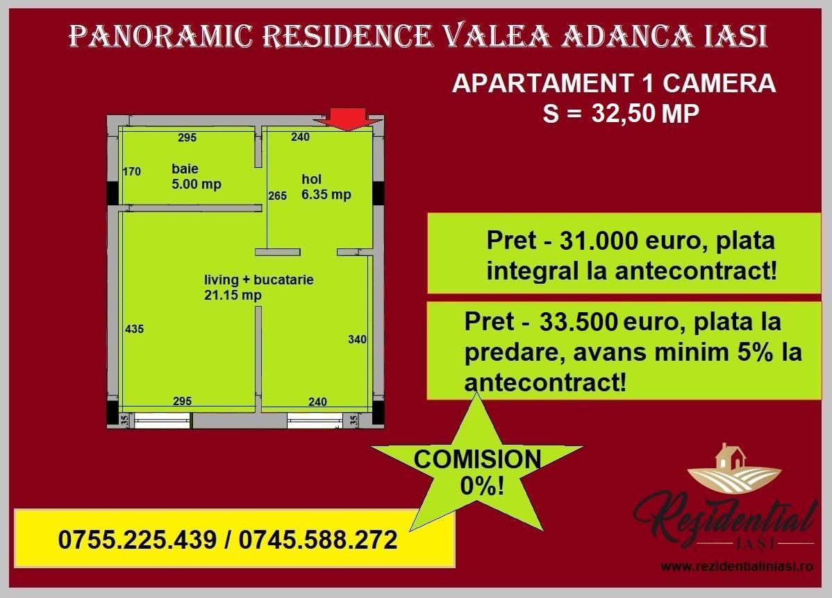 Apartament 1 camera - 32,50 mp