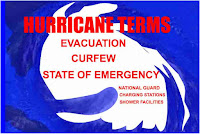 Graphic (c) Erika Grey of hurricane showed as a white circling mass on a blue background, Over the top of the hurricane reads in capital letters Hurricane Terms and under in capital letters it reads, Evacuation, Curfew and State of Emergency, in smaller letters under State of Emergency it reads, National Guard, charging stations and shower facilites