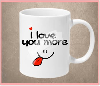 I love you more face mug