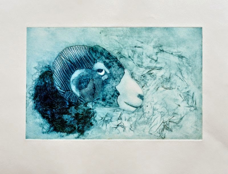 Swaledale sheep collagraph print