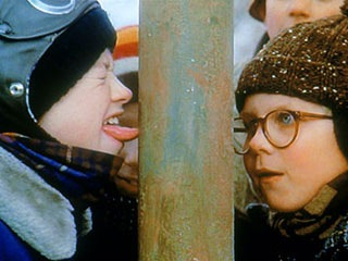 licking a frozen pole