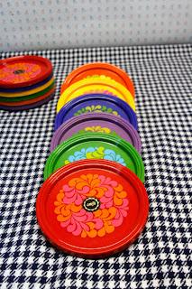Sous verres vintage Emsa, motifs colorés années 70 la puce au grenier