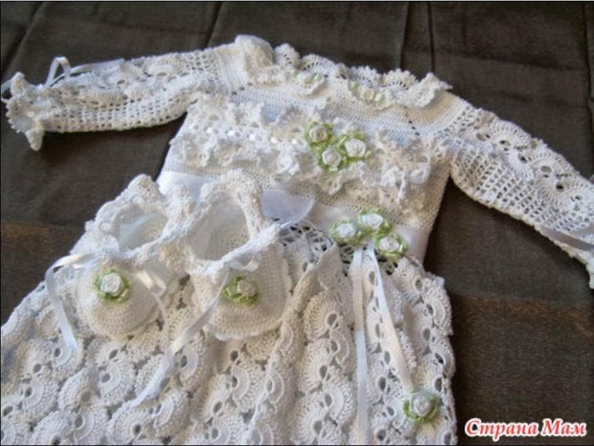 Encantador Patrón De Crochet Para Vestido De Bautizo Bandera - Manta ...