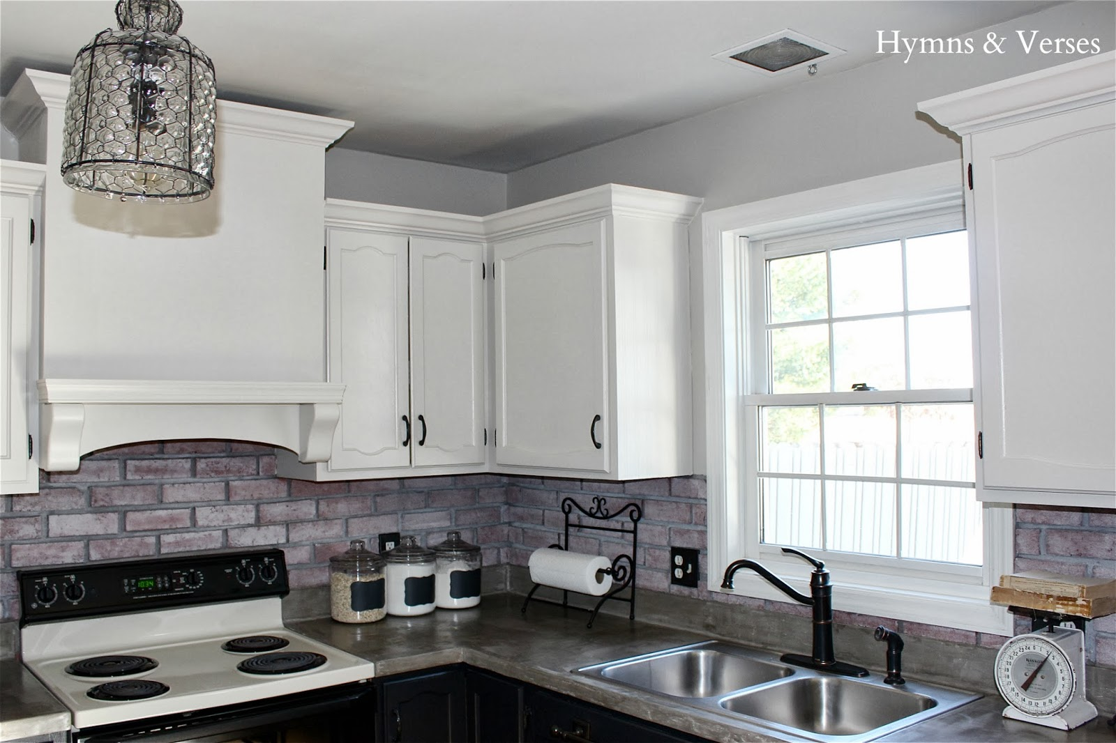 Our DIY Kitchen Makeover - Hymns and Verses Kitchen Makeover Ideas With Brick on brick style backsplash, brick paver backsplash, brick pattern backsplash,
