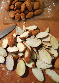 Cutting Board, Knife, Whole and Slice Almonds