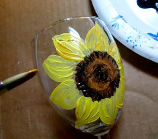 Painting Sunflowers On Wine Glasses