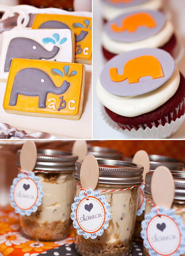 elephant theme in hues of orange gray