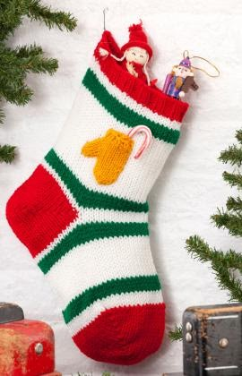 Knitting Pattern For Christmas Stocking Free : Free Christmas Knitting Patterns: CHRISTMAS STOCKING WITH MITTEN POCKET DECOR...