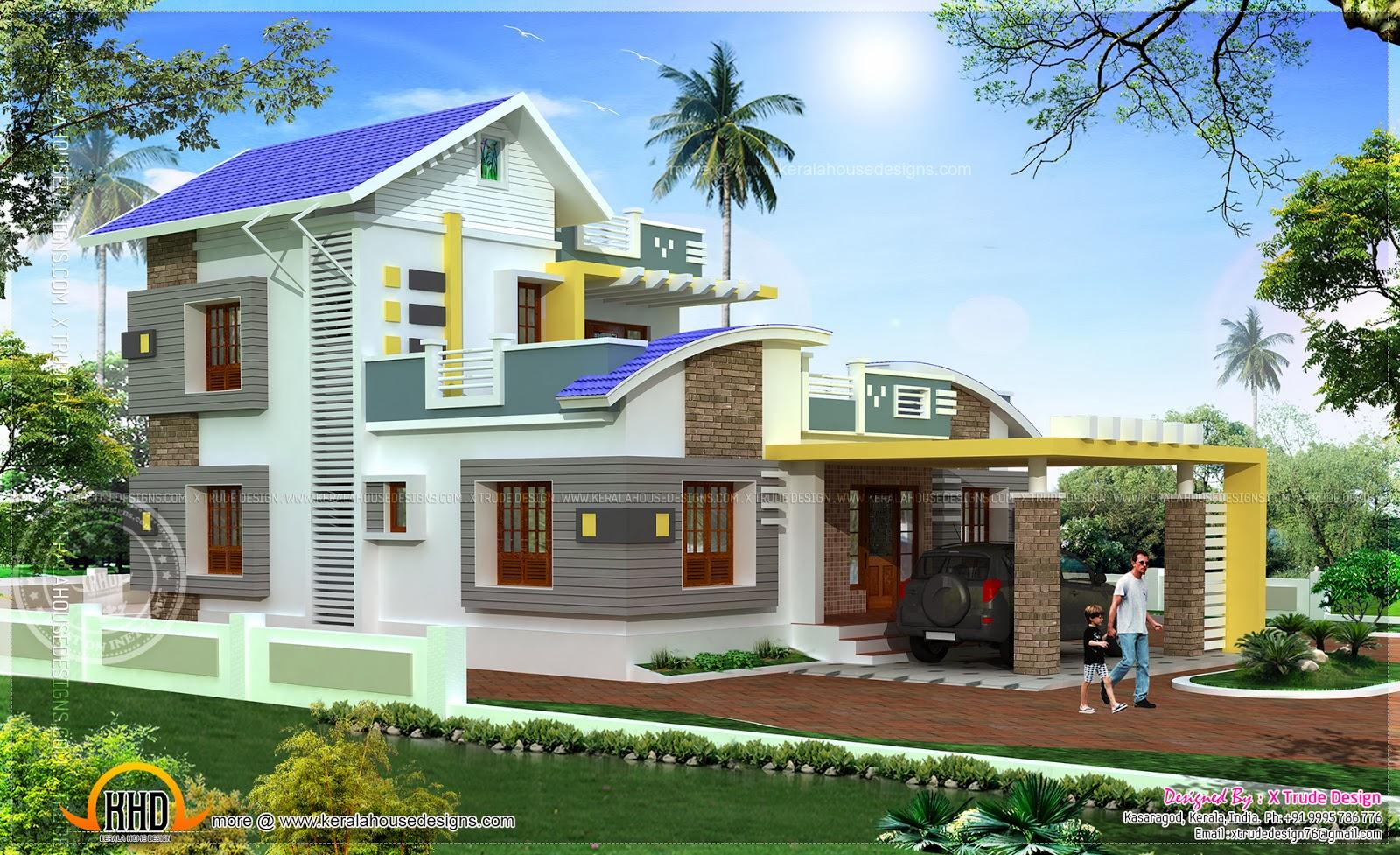 2434 square feet modern contemporary elevation home for Balcony ki design