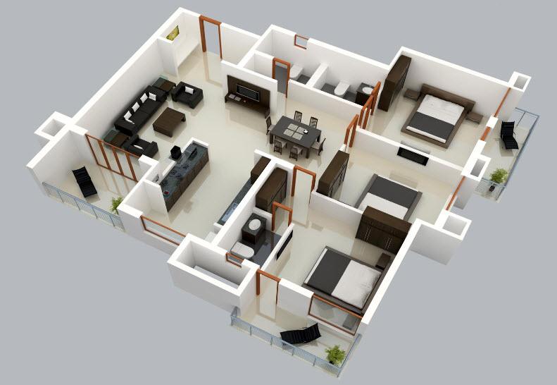 Plano 3d de casa de un solo nivel construye hogar for Plano casa 3d
