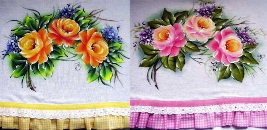 pintura em tecido pano de prato rosas